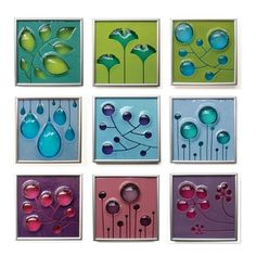 I LOVE these -- Simple shapes, simple colours, stunning effect. Beautiful fused glass art tiles by Michelle Prosek.