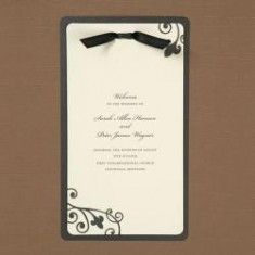 Black & Ivory Layered Program Pape ruse for MENU at each place setting