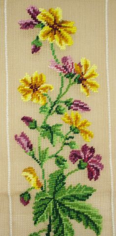 Yellow and Purple Flowers Preworked Needlepoint Canvas, Floral Runner or Tapestry, DIY Needlepoint Flowers - Easy flowers Beaded Cross Stitch, Cross Stitch Borders, Cross Stitch Flowers, Cross Stitch Designs, Cross Stitch Embroidery, Embroidery Patterns, Cross Stitch Patterns, Swedish Weaving, Art N Craft