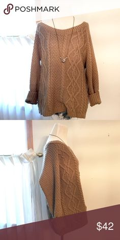 BDG Cable-Knit Sweater Beige oversized sweater by BDG from Urban Outfitters. Absolutely perfect for Fall! Urban Outfitters Sweaters
