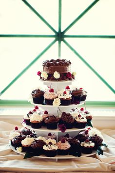 Since I am not a fan of cakes, I think this would be a great idea . . . small cake for pictures, etc. then on the other tears have some Mexican desserts instead of cupcakes.