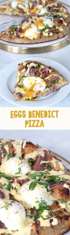 Eggs Benedict Pizza -- Brunch pizza topped with perfectly cooked eggs, prosciutto, and hollandaise sauce   wearenotmartha.com