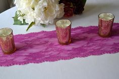 Orchid LACE Table runner wide and length Ft/Cut lace not hemmed/Radiant orcihd wedding/Fuchsia wedding/Free Swatch/Limited Supply Traditional Indian Wedding, Lace Table Runners, Wedding Reception Tables, Purple Orchids, Free Wedding, Wedding Ideas, Sari Fabric, Lace Patterns, Swatch