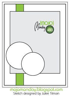 Mojo Monday 493 card sketch designed by Julee Tilman Scrapbook Patterns, Scrapbook Sketches, Card Sketches, Scrapbook Cards, Scrapbooking Layouts, Sketch Background, Stampin Up Karten, Spellbinders Cards, Little Elephant