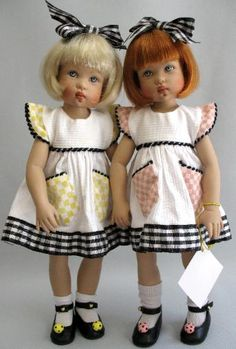 """Bitty Bethany by Helen Kish.   These are the very first Bittys, and the most beautiful.   They are 12"""" tall, and dressed in their original outfits."""