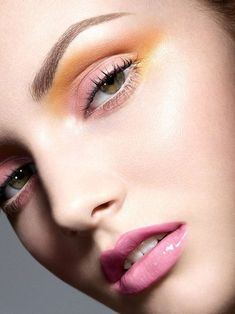 Fresh Makeup Trends For This Spring.. Pink/Yellow/ Eyes Pink Lips & highlighter
