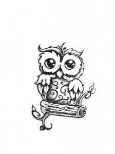 Owl tattoo design - really cute without   branch Keep the branch take away the scroll work and this is almost exactly what   I want for my nephew!