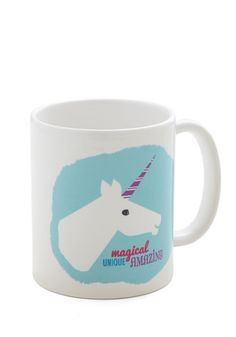 Drink with Distinction Mug. Start your day with a touch of the fantastical by sipping java from this unicorn mug! #white #modcloth