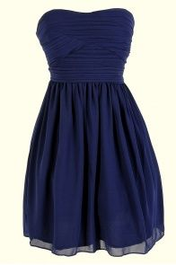 Pleated Chiffon Strapless Dress in Navy