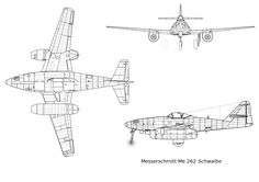Orthographically projected diagram of the Messerschmitt Me 262.