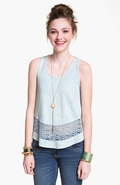 Painted Threads Lace Trim Tank (Juniors) available at #Nordstrom