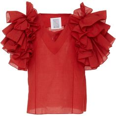 Rosie Assoulin Dust Ruffle Red Top found on Polyvore featuring tops, red, frill top, red ruffle top, frilly tops, flounce tops and ruffle top