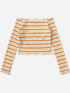 Shop Frill Trim Striped Knit Tee at ROMWE, discover more fashion styles online. Teen Swag Outfits, Crop Top Outfits, Trendy Outfits, Summer Outfits, Cute Outfits For School, Cute Girl Outfits, Cool Outfits, Fancy Tops, Cute Crop Tops