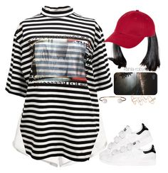 """""""Goodnight Gotham // rihanna   07 25 16"""" by kahla-robyn ❤ liked on Polyvore featuring H&M, M.Y.O.B., adidas, New Look, Letters By Zoe and Topshop"""