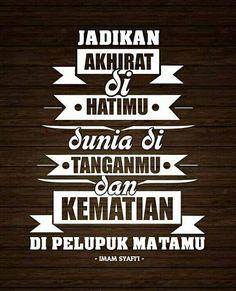Jadikan akhirat dihati mu. #mutiarakata Islamic Posters, Islamic Phrases, Islamic Messages, Positive Quotes, Motivational Quotes, Islamic Quotes Wallpaper, Religion Quotes, Islam Facts, Prayer Verses