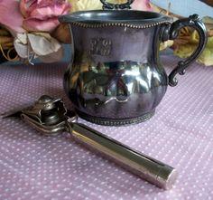 Antique shaving silver tone mug and safety razor by ThisandThat4U, $78.95