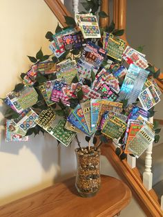 "Lottery Ticket Tree - ""Money does grow on trees"" Gag Gifts Christmas, Christmas Desserts, Christmas Decorations, Xmas, Lottery Ticket Tree, Basket Raffle, Raffle Ideas, Creative Birthday Gifts, Birthday Basket"