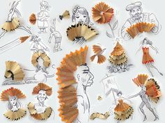 Creative artist Victor Nunes has created a series of illustrations using household objects. By surrounding different objects with simple line drawings Arte Peculiar, Pencil Shavings, Pencil Art, Simple Line Drawings, Ecole Art, Creative Illustration, 3d Illustrations, Graphic Illustration, Everyday Objects