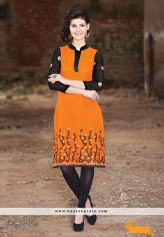 Gleaming Georgette Orange Party Wear Kurti