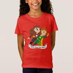 Custom flying superhero girls cartoon T-Shirt