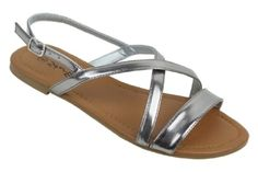 #hot Womens Roman Gladiator Sandals Flats Strappy Shoes 4 Colors,9 B(M) US,Silver 2619