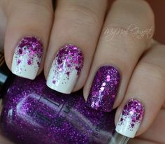 Sparkling Purple nail art design. Take out your most vibrant purple glitter polish and sequins and give the party life to your then plain looking nail polish.