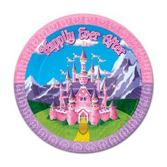 Princess Dinner Plates (8) .  Featuring a lovely pink castle, this set of large sized plates will look great on your princess themed party table.  8 plates; 22.9cm