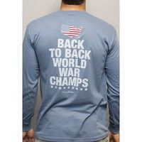 ****Back to Back World War Champs Long Sleeve Tee with America Silhouette in Navy by Rowdy Gentleman****