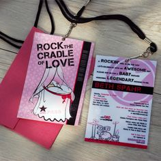 Rock n Roll Baby shower invitation (VIP Passes with lanyard necklaces as invite, pink) by Never Vanilla