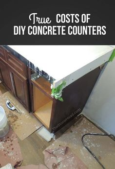 Here's everything you need to make concrete countertops and I reveal the true cost! Cost Of Concrete Countertops, Concrete Kitchen, Kitchen Utensils Store, Stained Kitchen Cabinets, Planning Board, Concrete Projects, Home Management, Inexpensive Furniture, Updated Kitchen