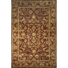 Handmade Rectangular Persian Kashan Area Rug in Burgundy, 6x9 area rugs