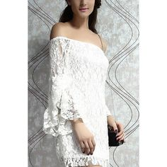 Yoins Off Shoulder Lace Mini Dress ($23) ❤ liked on Polyvore featuring dresses, cocktail dresses, white, short lace dress, lace cocktail dress, long lace dress, white cocktail dresses and white dress