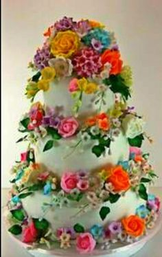 very colourful floral cake