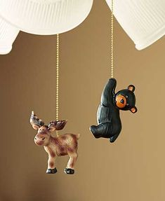 Add cute critters to your decor and know which pull is which with the mismatched Set of 2 Fan and Light Pulls. They're easy to install--simply attach them to your existing fan and light pull chains.