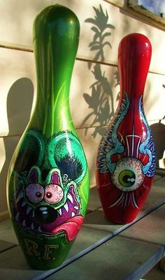 Vintage Painted Bowling Pins