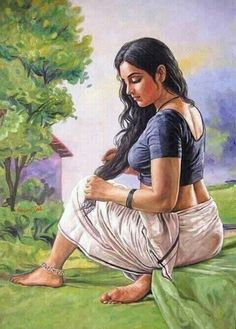 💕💖🖤💖💜Art of India Indian Women Painting, Indian Art Paintings, Indian Artist, Oil Paintings, Sexy Painting, Woman Painting, Indian Drawing, Beauty Art, Pictures To Draw