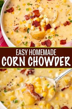 Cozy corn chowder, made with tender potatoes, salty bacon and sweet corn! Perfect as a weeknight meal! Crockpot directions too! Cozy corn chowder, made with tender potatoes, salty bacon and sweet corn! Perfect as a weeknight meal! Crockpot directions too! Easy Soup Recipes, Cooking Recipes, Fresh Corn Recipes, Chicken Recipes, Recipes With Ham, Frozen Corn Recipes, Summer Soup Recipes, Vegetarian Recipes, Chef Recipes