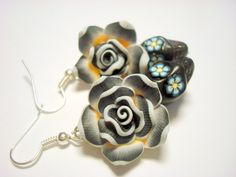 Black and White Day of the Dead Roses and Sugar Skull Earrings by PennysLane, $8.50