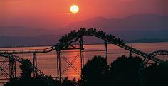 Gardaland Roller Coaster al Tramonto