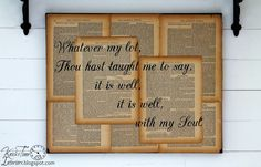 Repurposed Book Page Canvas Hymn Art  ~~~by KnickofTimeInteriors.blogspot.com