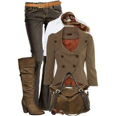 Pretty fall outfit! Think I'd have to find a scarf will a little more color though.