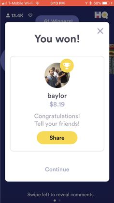 Here's the screen you see when you win HQ Trivia