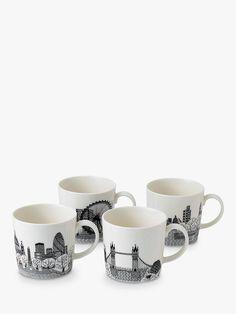Royal Doulton Charlene Mullen London Calling Mugs, Set of Black/White at John Lewis & Partners St George Flag, London Landmarks, London Bus, China Mugs, London Calling, Royal Doulton, Porcelain Ceramics, Mugs Set, Mug Designs