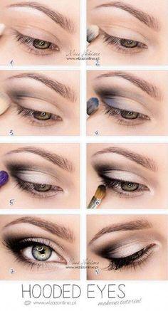 Top 10 Simple Makeup Tutorials For Hooded Eyes style & beauty eye makeup for hooded eyelids - Eye Makeup Eye Makeup Tips, Smokey Eye Makeup, Makeup Eyeshadow, Makeup Ideas, Glow Makeup, Beauty Makeup, Makeup Brushes, Makeup Geek, Easy Smokey Eye