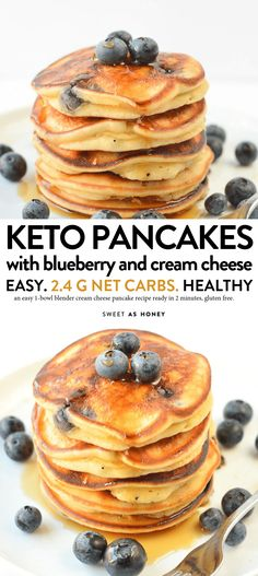 Keto blueberry pancakes cream cheese pancakes - Sweetashoney KETO BLUEBERRY PANCAKES with Cream Cheese g net carbs, fluffy, easy 6 ingredients Keto Cream Cheese Pancakes, Low Carb Pancakes, Low Carb Breakfast, Breakfast Recipes, Dessert Recipes, Oatmeal Pancakes, Blueberry Breakfast, Breakfast Pancakes, Breakfast Gravy