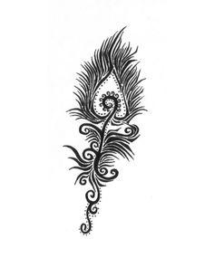 Pfau-Feder detaillierte Darstellung, Ideen für Tattoovorlagen