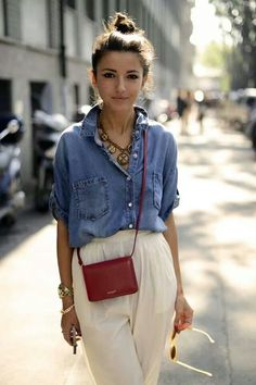 Chambray blouse with cream pants