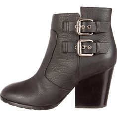 Pre-owned Giuseppe Zanotti Nikita 80 Round-Toe Booties ($275) ❤ liked on Polyvore featuring shoes, boots, ankle booties, black, block heel booties, black block heel boots, giuseppe zanotti, black round toe boots and round cap