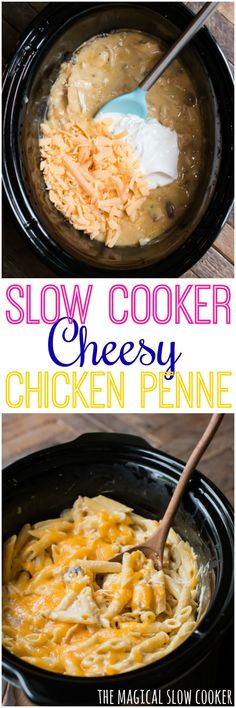 Slow Cooker Cheesy Chicken Penne serves 8 so cut in half