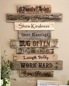 Family Rules - christian - home decor - home inspiration - wall art - wood art - pallet art - quotes   #ad